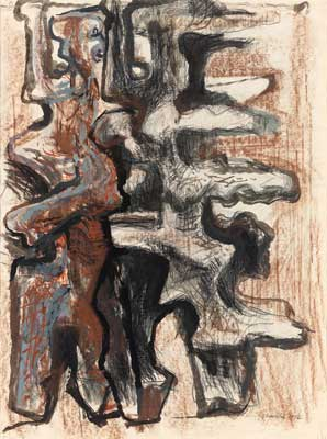 Gilbert Franklin: Abstract Figures in Black, Blue, Red and Brown
