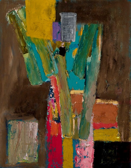 William Freed: Untitled Abstraction with Three Yellow Ochre Rectangles