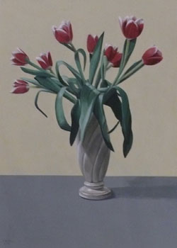 Richard Baker: Nine Tulips in a Tall Vase