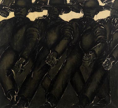 Lester Johnson: Four Men Walking