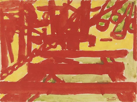 Lester Johnson: Red Pier with Green