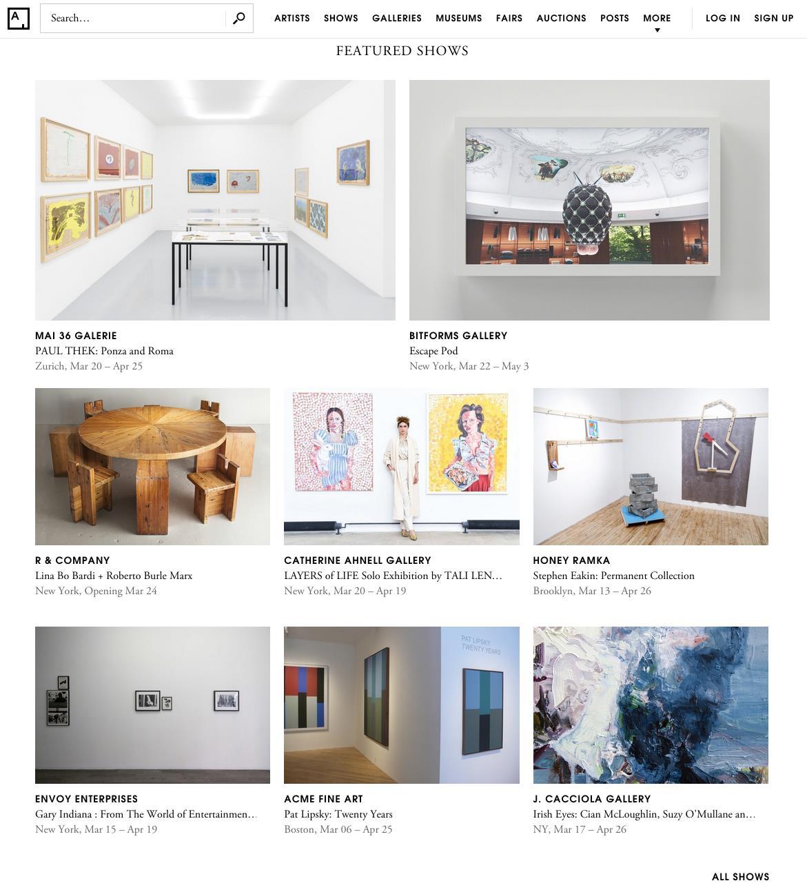 Artsy Homepage-Lipsky Show
